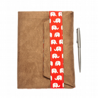 A5 Suedette Notebook cover - Elephant print