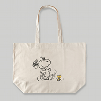 Snoopy & Woodstock Dancing - Natural Cotton Tote Bag - Awesome Snoopy Gift