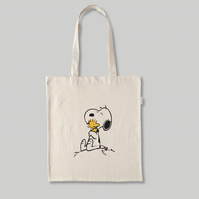 Snoopy & Woodstock Hugging - Natural Cotton Tote Bag - Awesome Snoopy Gift