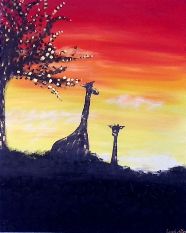 African Giraffes under a Tree, Textured, Large, Original Painting, Size 32x40""