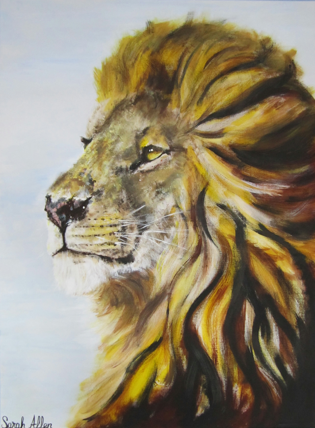 African Male Lion Large Original Acrylic Fin Folksy
