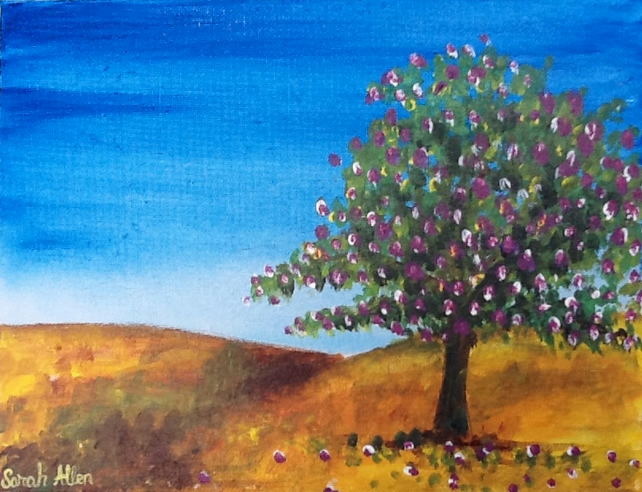 African Tree in Desert, Small, Original Acrylic Fine Art painting. Size 10x8""