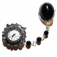 ***Reserved for the Lovely Madeleine** Black Onyx Antique style Fob Watch - Tickity Tock, it's Tea O'clock