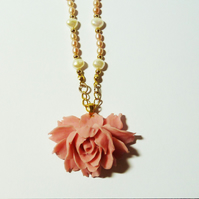 Vintage Freshwater Pearl Rose Necklace - Evelyn's Forgotten Treasure