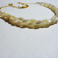 Vintage Mother of Pearl Necklace - The Mother of Golden Sophistication