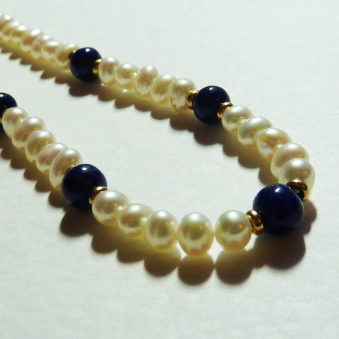 ***reserved**Vintage Freshwater Pearl and Lapis Lazuli Necklace- Lady Of The Sea