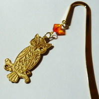 Vintage Bookmark with Swarovski Crystal- Wise Ole' Owl