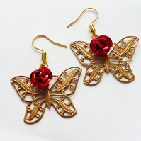 In The Rose Bush...   Butterfly and Rose Earrings