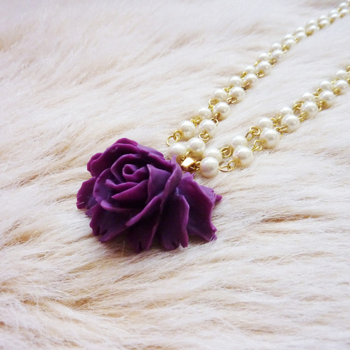 ***reserved***Pearl and amethyst rose necklace - Fit For A Queen