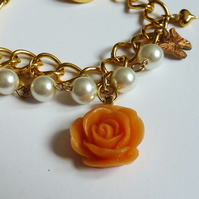 Autumn Sunshine Rose and Butterfly Charm Bracelet