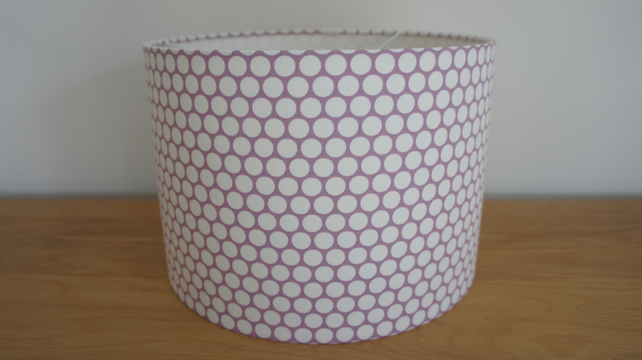Handmade drum lampshade 30 cm in lilac and whit folksy handmade drum lampshade 30 cm in lilac and white spot fabric aloadofball Image collections