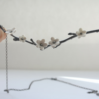 Blossom antiqued silver neckpiece with porcelain flowers