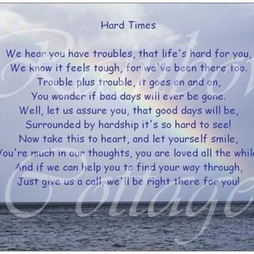 'Hard Times' Original Poem Postcard FREE P&P to UK just £2 elsewhere