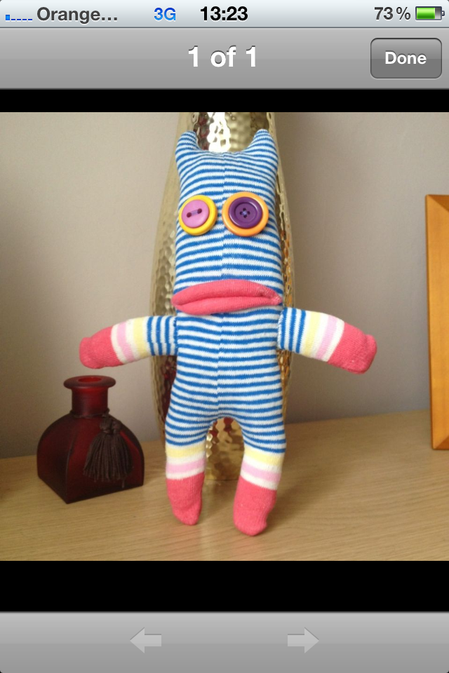 Stripey handmade sock monster