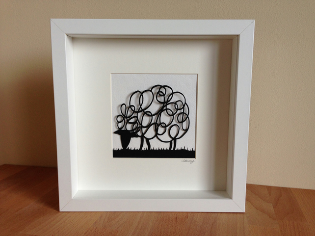 Framed Grazing Sheep Picture