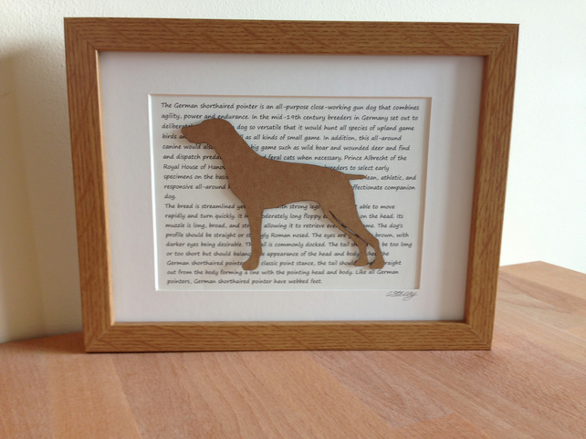 Framed German Short Haired Pointer Silhouette Dog Picture