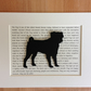 Mounted Pug Silhouette Dog Picture