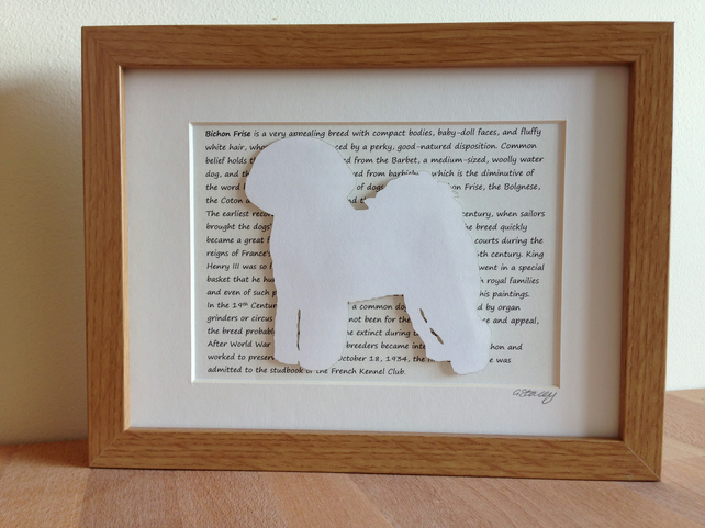 Framed Bichon Frise Silhouette Dog Picture