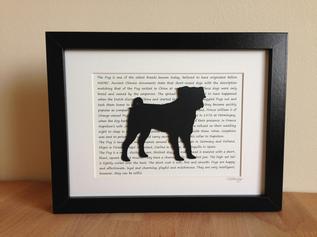 Framed Pug Silhouette Dog Picture