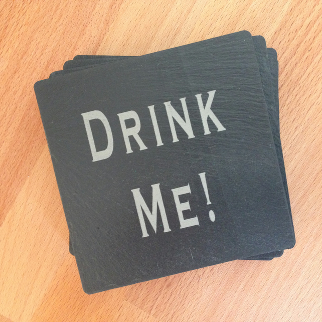 Drink Me Slate Engraved Coasters Set of 4