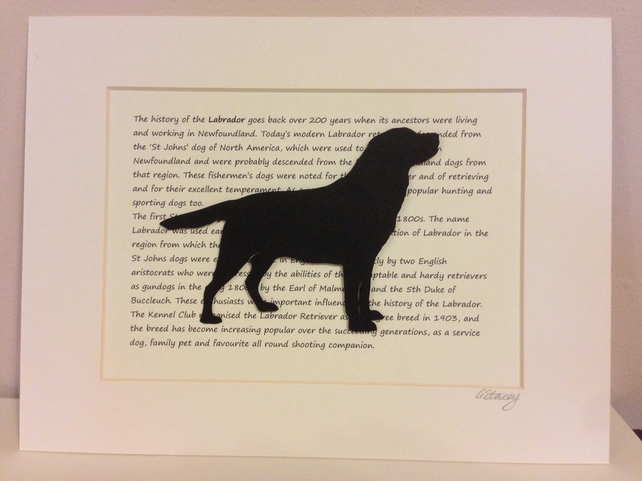 Black Labrador Dog silhouette framed picture