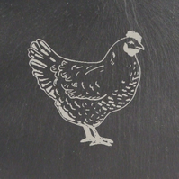 Chicken Welsh Slate Coaster