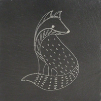 Welsh Slate Coaster Fox