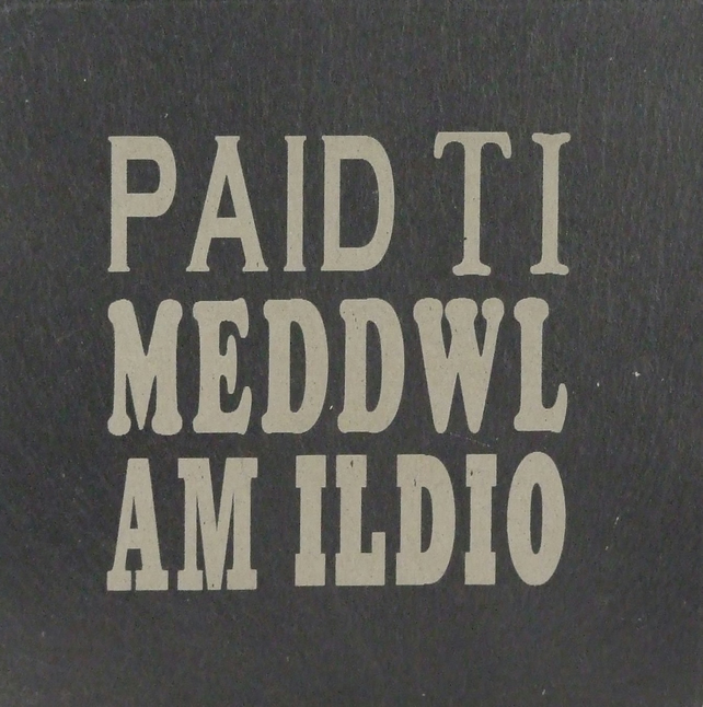 Paid ti meddwl am ildio (Don't you dare give up) Welsh Slate Coaster