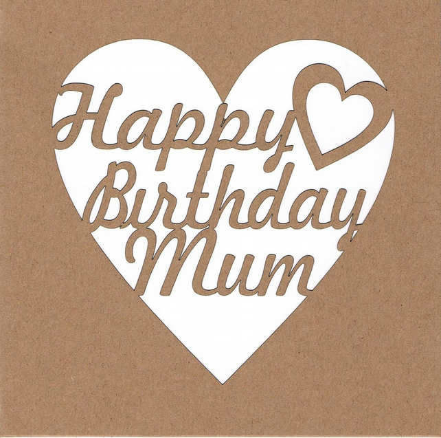 Happy Birthday Mum Heart Card