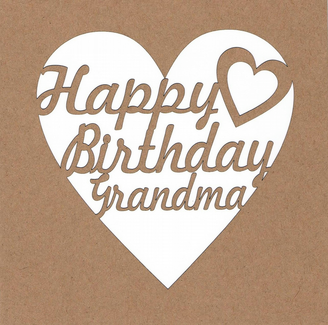 Happy Birthday Grandma Heart Card
