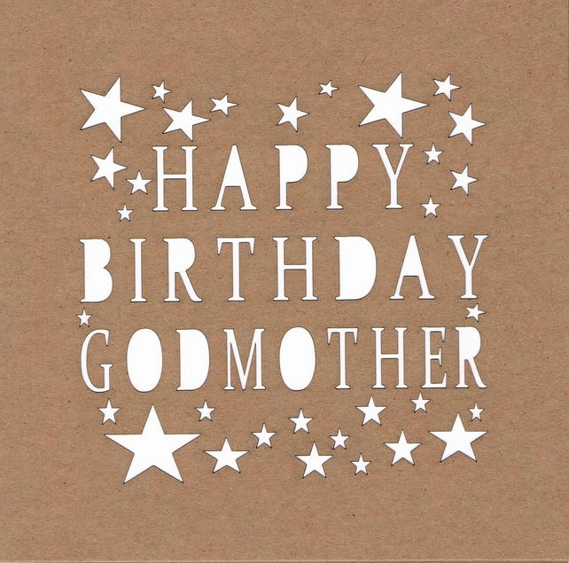 Happy Birthday Godmother Stars Card