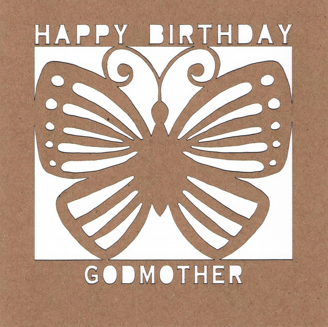Happy Birthday Godmother Butterfly Card