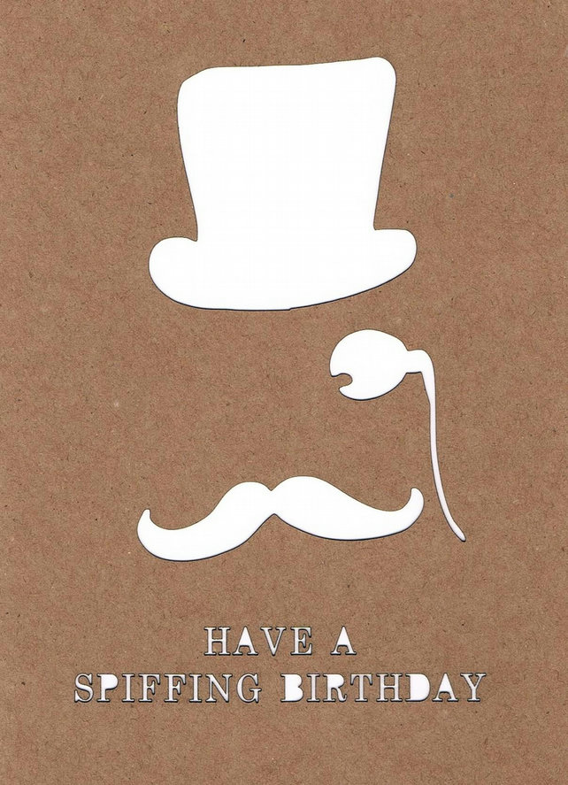 Happy Birthday Top Hat and Moustache Card