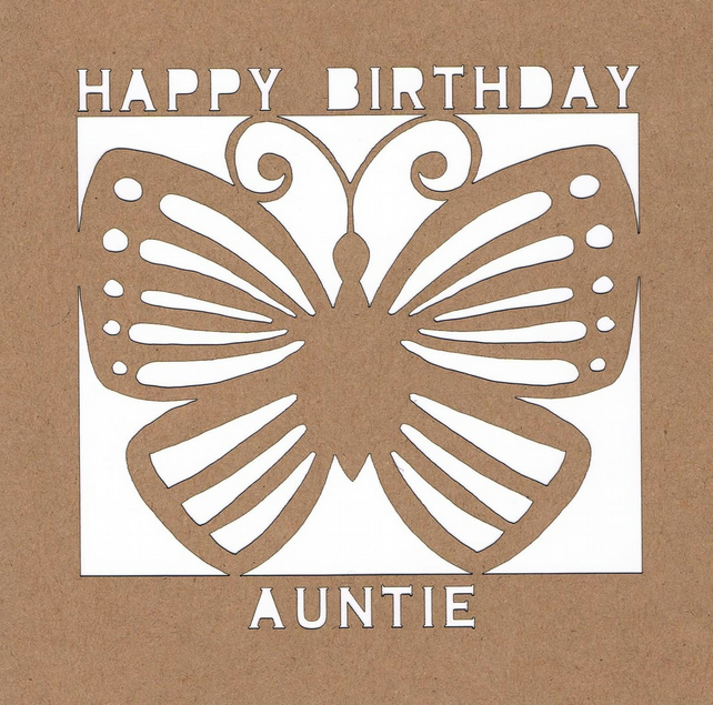 Happy Birthday Auntie Butterfly Card