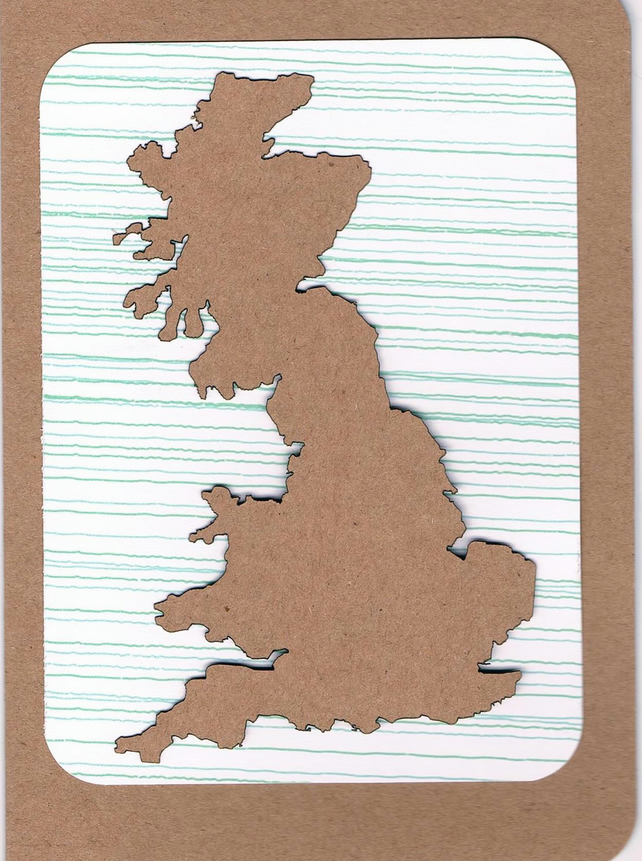 Great Britain map card (mounted)