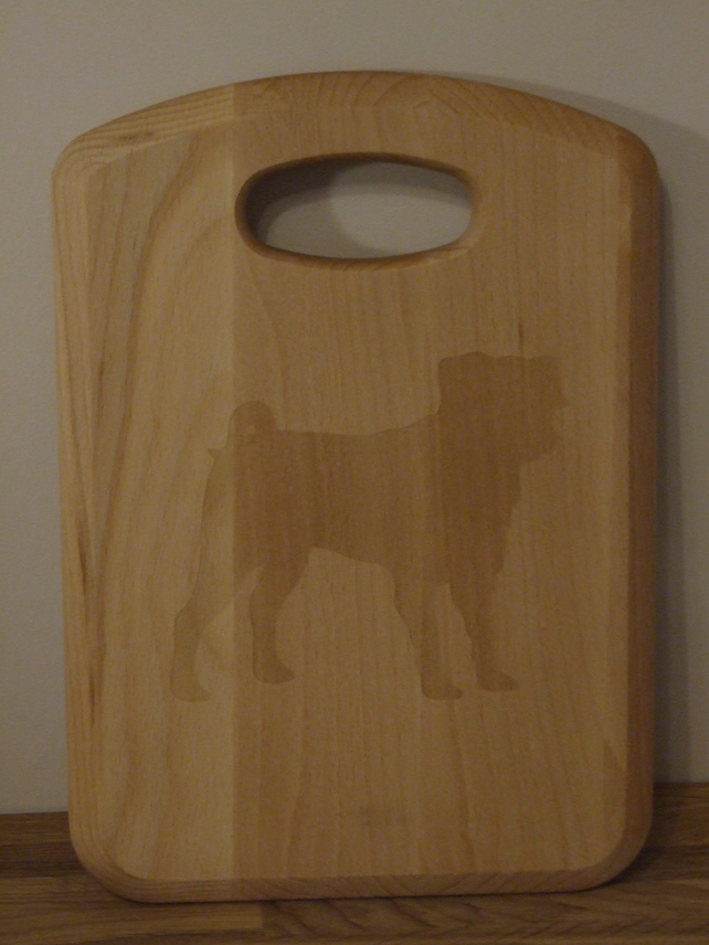 Small Solid beech chopping board - Pug