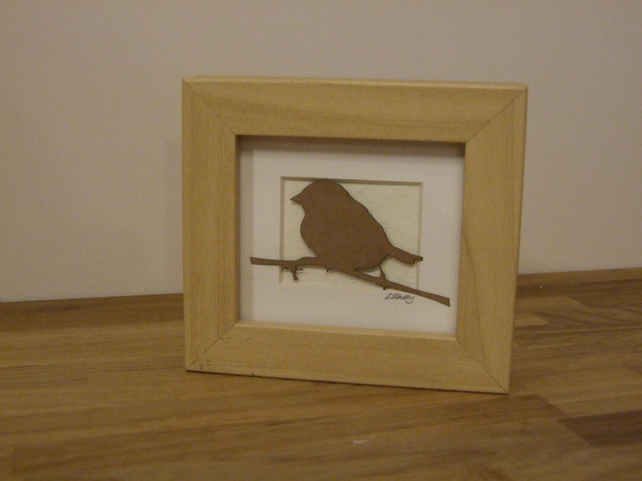 Small framed bird picture (brown)