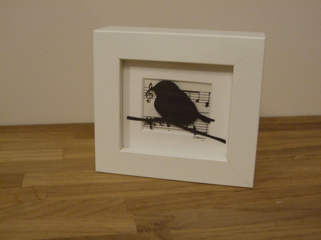 Small framed bird picture (black)