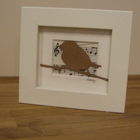 Small framed bird picture (brown manuscript)