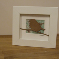 Small framed bird picture (brown patterned paper)