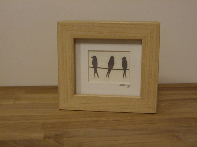 Birds on a wire mini (wood effect frame)