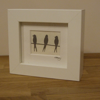 Birds on a wire mini (white frame)