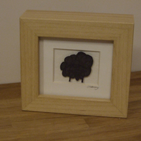 Sheep black solid mini (wood effect frame)