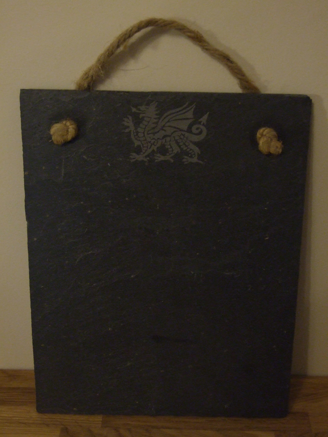Welsh slate memo board (welsh dragon)