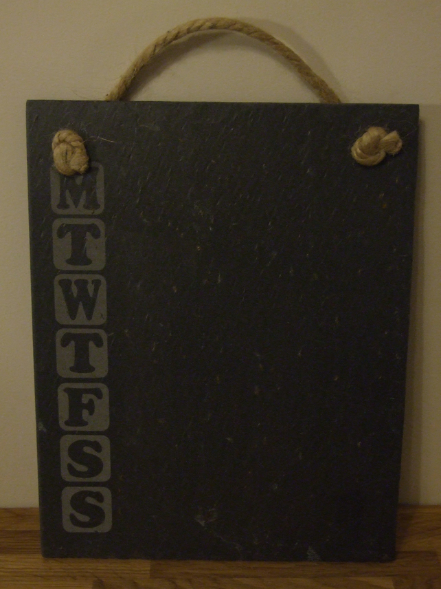 Welsh slate memo board (week planner)