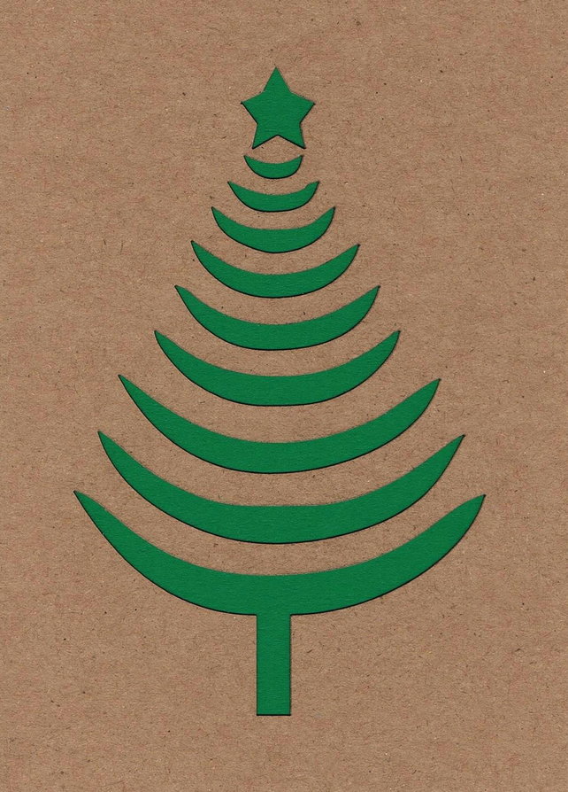 Curved Christmas tree card