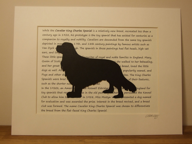 Mounted Cavalier King Charles Spaniel Silhouette Dog Picture