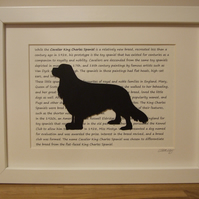 Framed Cavalier King Charles Spaniel Silhouette Dog Picture
