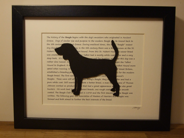 Framed Beagle Silhouette Dog Picture