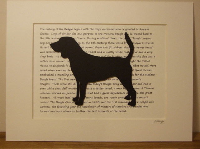 Mounted Beagle Silhouette Dog Picture